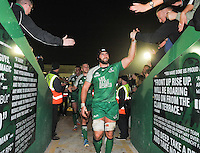 19th September 2014; <br /> Connacht captain John Muldoon is applauded by fans as he walks off the pitch after the game.<br /> Guinness PRO12, Connacht v Leinster . <br /> The Sportsground, Galway. <br /> Picture credit: Tommy Grealy/actionshots.ie