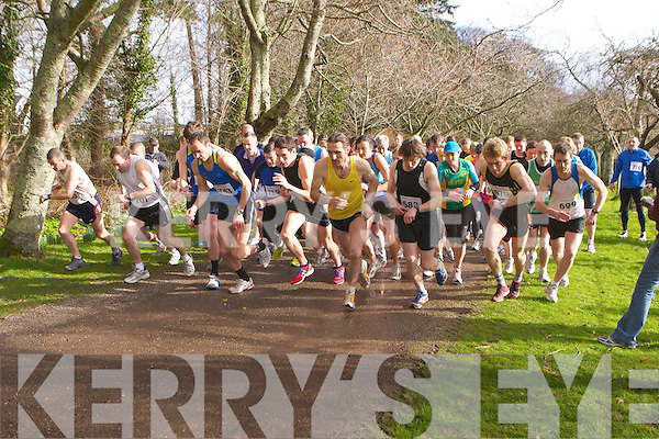 Runners set their watches at the start of the Gneeveguilla AC road race series in Killarney on Saturday..