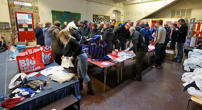 The alternative Rangers shop in Ibrox Primary school