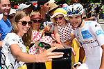 Pierre Latour (FRA) AG2R La Mondiale with fans at sign on before the start of Stage 15 of the 2018 Tour de France running 181.5km from Millau to Carcassonne, France. 22nd July 2018. <br /> Picture: ASO/Alex Broadway | Cyclefile<br /> All photos usage must carry mandatory copyright credit (&copy; Cyclefile | ASO/Alex Broadway)