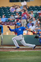 Andy Ibanez (10) of the Round Rock Express bats against the Omaha Storm Chasers at Werner Park on May 27, 2018 in Papillion , Nebraska. Round Rock defeated Omaha 8-3. (Stephen Smith/Four Seam Images)