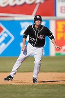 Erik Huber (27) of the Hickory Crawdads takes his lead off of first base versus the Charleston RiverDogs at L.P. Frans Stadium in Hickory, NC, Sunday, May 4, 2008.