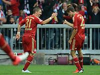 FUSSBALL   1. BUNDESLIGA  SAISON 2012/2013   2. Spieltag FC Bayern Muenchen - VfB Stuttgart      02.09.2012 Jubel nach dem Tor zum 6:1 durch Bastian Schweinsteiger mit Thomas Mueller (v. li., FC Bayern Muenchen)