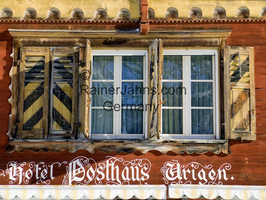 CH, Switzerland, Canton Uri, Hotel Posthaus Urigen (window)