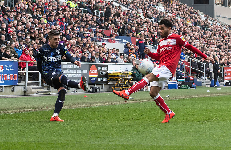 Leeds United's Pablo Hernandez (left) crosses the ball despite the attentions of Bristol City's Jay Dasilva (right) <br /> <br /> Photographer David Horton/CameraSport<br /> <br /> The EFL Sky Bet Championship - Bristol City v Leeds United - Saturday 9th March 2019 - Ashton Gate Stadium - Bristol<br /> <br /> World Copyright © 2019 CameraSport. All rights reserved. 43 Linden Ave. Countesthorpe. Leicester. England. LE8 5PG - Tel: +44 (0) 116 277 4147 - admin@camerasport.com - www.camerasport.com