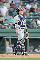 Catcher Radley Haddad (20) of the Charleston RiverDogs in a game against the Greenville Drive on Sunday, August 16, 2015, at Fluor Field at the West End in Greenville, South Carolina. Charleston won, 6-2. (Tom Priddy/Four Seam Images)