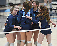 NWA Democrat-Gazette/J.T. WAMPLER Springdale Har-Ber squad celebrates a point against Fayetteville Tuesday Oct. 10, 2017 at Wildcat Arena in Springdale. Springdale Har-Ber beat Fayetteville in 5 sets (22-25, 25-19, 25-21, 23-25, 20-18).