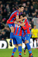 GOAL - James McArthur of Crystal Palace is mobbed after scoring the winner during the EPL - Premier League match between Crystal Palace and Watford at Selhurst Park, London, England on 12 December 2017. Photo by Carlton Myrie / PRiME Media Images.