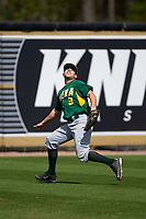 Siena Saints left fielder Ryne Martinez (9) tracks a fly ball during a game against the UCF Knights on February 21, 2016 at Jay Bergman Field in Orlando, Florida.  UCF defeated Siena 11-2.  (Mike Janes/Four Seam Images)