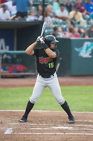 Great Falls Voyagers second baseman Amado Nunez (15) at bat during a Pioneer League against the Ogden Raptors at Lindquist Field on August 23, 2018 in Ogden, Utah. The Ogden Raptors defeated the Great Falls Voyagers by a score of 8-7. (Zachary Lucy/Four Seam Images)