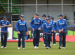 James Taylor leads out the England team at the Ireland v England One Day Cricket International held at Malahide Cricket Club, Dublin, Ireland. 8th May 2015.<br /> Photo: Joe Curtis/www.newsfile.ie