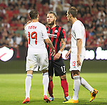 Spartak Trnava v St Johnstone...07.08.14  Europa League Qualifier 3rd Round<br /> Stevie May and Martin Toth have words<br /> Picture by Graeme Hart.<br /> Copyright Perthshire Picture Agency<br /> Tel: 01738 623350  Mobile: 07990 594431