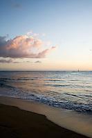 Sunset at he Balneario de Rincón, or public beach, in Rincón, Puerto Rico on 30th December 2011.