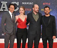 Cary Fukunaga, Emma Stone, Patrick Somerville and Justin Theroux at the &quot;Maniac&quot; UK TV premiere, Southbank Centre, Belvedere Road, London, England, UK, on Thursday 13 September 2018.<br /> CAP/CAN<br /> &copy;CAN/Capital Pictures