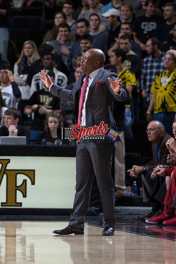 Arkansas Razorbacks head coach Mike Anderson reacts to a call during second half action against the Wake Forest Demon Deacons at the LJVM Coliseum on December 4, 2015 in Winston-Salem, North Carolina.  The Demon Deacons defeated the Razorbacks 88-85.  (Brian Westerholt/Sports On Film)