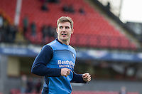 Dayle Southwell of Wycombe Wanderers warms up ahead of the Sky Bet League 2 match between Grimsby Town and Wycombe Wanderers at Blundell Park, Cleethorpes, England on 4 March 2017. Photo by Andy Rowland / PRiME Media Images.