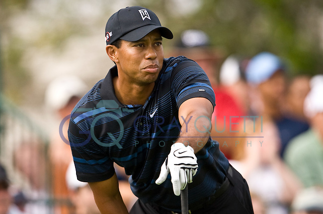 March 27, 2009, Arnold Palmer Invitational * Second Round*.  Tiger Woods tees off on the first tee during second round play  at Bay Hill Golf Club in Orlando, Florida...