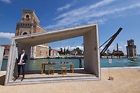 Venice, Italy - 15th Architecture Biennale 2016, &quot;Reporting from the Front&quot;.<br /> Arsenale.<br /> Samuel Gon&ccedil;alves, Portugal with his Summary Architecture.