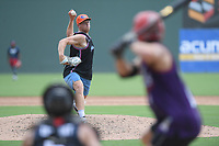 "Chicago White Sox minor league pitcher John Parke pitches in a ""Sandlot""-style game concluding a series of workouts with local MLB and MiLB players from around the Upstate region on Thursday June 25, 2020, at Fluor Field at the West End in Greenville, South Carolina. Parke was drafted out of South Carolina. (Tom Priddy/Four Seam Images)"