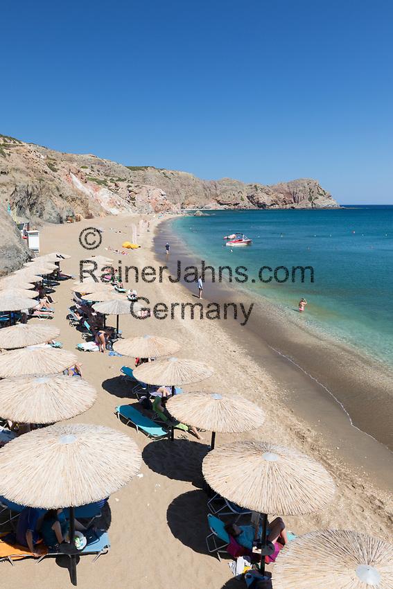 Greece, South Aegean, Cyclades, Milos island: Paliochori Beach on south east coast | Griechenland, Suedliche Aegaeis, Kykladen, Insel Milos: Paliochori Beach an der Sued-Ost-Kueste