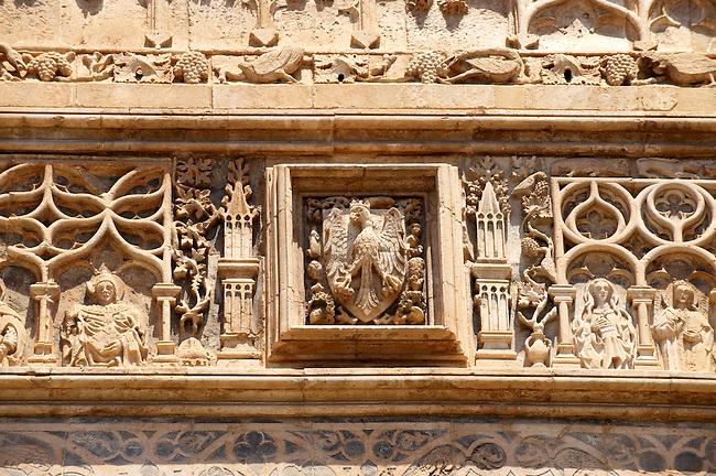 Gothic Catalan style portica( 1430) by  Antonio Gambara, Palermo Cathedral, Sicily