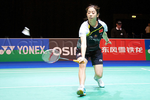 10.03.2012 Birmingham, England. Wang Shixian (CHN) in action during the Yonex All England Open Badminton Championships at the National Indoor Arena.
