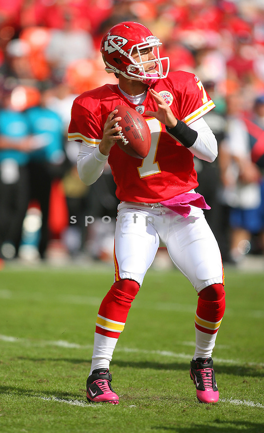 MATT CASSEL, of the Kansas City Chiefs in action during the Chiefs game against the Jacksonville Jaguars on October 24, 2010 at Arrowhead Stadium in Kansas City, MO...Chiefs beat the Jaguars 42-20