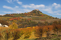 Italien, Piemont, Region Langhe, Novello: Weinbauort suedlich von Barolo, malerische Herbstlandschaft | Italy, Piedmont, Region Langhe, Novello: wine village south of Barolo, picturesque autumn landscape