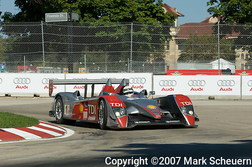 31 August 2007: The Audi Sport North America Audi R10 TDI driven by Allan McNish (XSC) at the Detroit Sports Car Challenge presented by Bosch, Detroit, MI