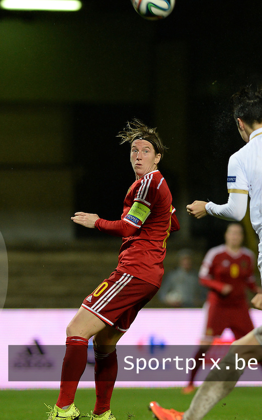 20151130 - LEUVEN ,  BELGIUM : Belgian Aline Zeler pictured during the female soccer game between the Belgian Red Flames and Serbia , the third game in the qualification for the European Championship in The Netherlands 2017  , Monday 30 November 2015 at Stadion Den Dreef  in Leuven , Belgium. PHOTO DAVID CATRY