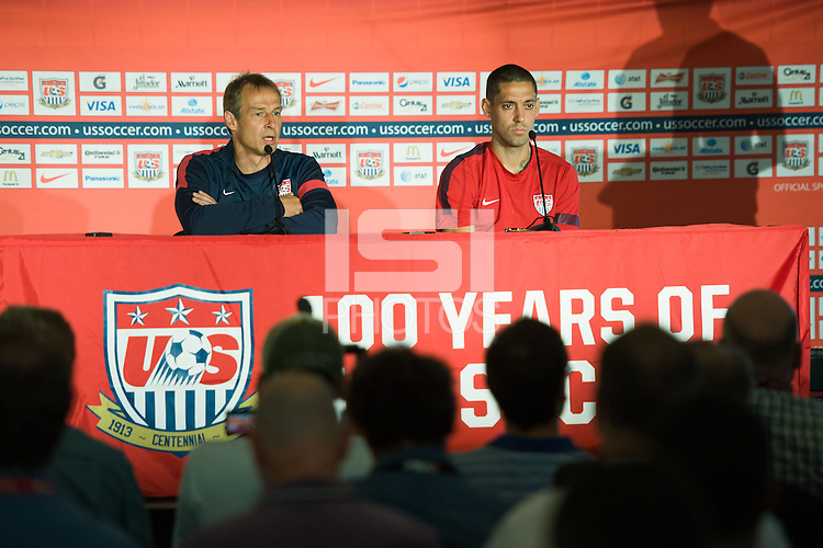 COLUMBUS, OH - Head Coach Jurgen Klinsmann and Captain Clint Dempsey address questions from the media before training at the Columbus Crew Stadium in Columbus, OH. The United States Men's National Team will compete against Mexico on Tuesday, September 10, in a World Cup Qualifying match.