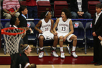 19 March 2007: Candice Wiggins and Cissy Pierce during Stanford's 68-61 second round loss to Florida State in the 2007 NCAA Division I Women's Basketball Championships at Maples Pavilion in Stanford, CA.