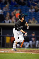Quad Cities River Bandits left fielder Stephen Wrenn (22) follows through on a swing during a game against the Lake County Captains on May 6, 2017 at Modern Woodmen Park in Davenport, Iowa.  Lake County defeated Quad Cities 13-3.  (Mike Janes/Four Seam Images)