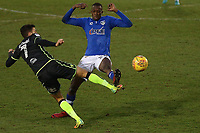 Bristol Rovers' Liam Sercombe (left) is tackled by Oldham Athletic's Ousmane Fane (right) during the Sky Bet League 1 match between Oldham Athletic and Bristol Rovers at Boundary Park, Oldham, England on 30 December 2017. Photo by Juel Miah / PRiME Media Images.
