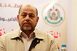 Senior Hamas leader Mousa Abu Marzouk attends a national meeting between his movement and the Islami Jihad movement in Khan Younis in the southern Gaza Strip, June 7, 2015. Photo by Abed Rahim Khatib