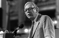 Peter Shore, MP, addresses UK Labour Party Annual Conference, September, 1982, 198209000178P<br /><br />Copyright Image from Victor Patterson, 54 Dorchester Park, <br />Belfast, UK, BT9 6RJ<br /><br />t1: +44 28 9066 1296 (from Rep of Ireland 048 9066 1296)<br />t2: +44 28 9002 2446 (from Rep of Ireland 048 9002 2446)<br />m: +44 7802 353836<br /><br />victorpatterson@me.com<br />www.victorpatterson.com<br /><br />Please see my Terms and Conditions of Use at VICTORPATTERSON.COM. It is IMPORTANT that you familiarise yourself with them.<br /><br />Images used on the Internet must be visibly watermarked i.e. &copy;VICTORPATTERSON.COM within the body of the image and copyright metadata must not be deleted. Images used on the Internet have a size restriction of 4kbs and are chargeable at the then current NUJ rates.<br /><br />This image is only available for the use of the download recipient i.e. television station, newspaper, magazine, book publisher, etc, and must not be passed on to any third party. It is also downloaded on condition that each and every usage is notified within 7 days to victorpatterson@me.com<br /><br />The right of Victor Patterson to be identified as the author is asserted in accordance with The Copyright Designs And Patents Act (1988).