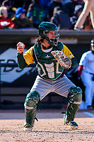 Beloit Snappers catcher Jordan Devencenzi (18) throws down to second base between innings of a Midwest League game against the Wisconsin Timber Rattlers on April 7, 2018 at Fox Cities Stadium in Appleton, Wisconsin. Beloit defeated Wisconsin 10-1. (Brad Krause/Four Seam Images)