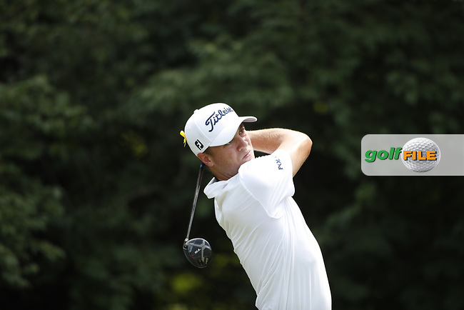 Justin Thomas (USA) tees off on the 9th hole during the first round of the 100th PGA Championship at Bellerive Country Club, St. Louis, Missouri, USA. 8/9/2018.<br /> Picture: Golffile.ie | Brian Spurlock<br /> <br /> All photo usage must carry mandatory copyright credit (© Golffile | Brian Spurlock)