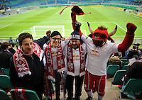 DFB Pokal 2011/12 2. Hauptrunde RasenBallsport Leipzig - FC Augsburg Fans mit Maskottchen in der Red Bull Arena.