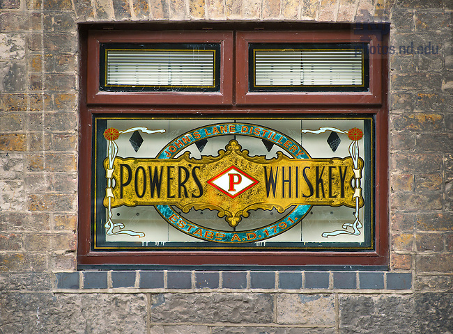 Aug. 29, 2012; Power's Whiskey window at the Old Jameson Distillery..Photo by Matt Cashore/University of Notre Dame
