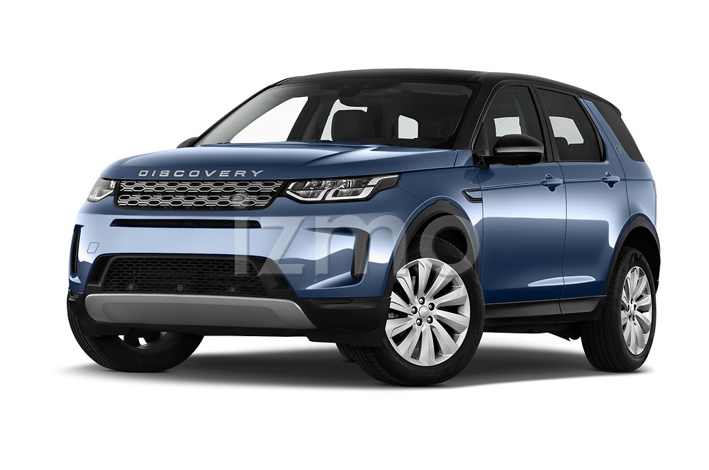 Stock pictures of low aggressive front three quarter view of a 2020 Land Rover Discovery Sport S 5 Door SUV