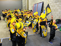 The flagbearers prepare for the Super Rugby final match between the Hurricanes and Lions at Westpac Stadium, Wellington, New Zealand on Saturday, 6 August 2016. Photo: Dave Lintott / lintottphoto.co.nz