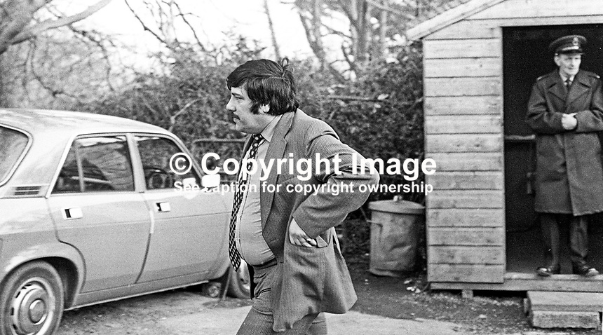 Andy Tyrie, leading member of the UDA, Ulster Defence Association, leaves Stormont Castle, Belfast, N Ireland, after a meeting to discuss the organisation's offer to provide local policing. 27th February 1975. 197502270164b<br />