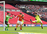 Blackpool's Mark Cullen and Exeter's Jordan Moore-Taylor during the Sky Bet League 2 PLAY OFF FINAL match between Exeter City and Blackpool at Wembley Stadium, London, England on 28 May 2017. Photo by Andrew Aleksiejczuk.