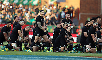 PRETORIA, SOUTH AFRICA - OCTOBER 06: The All Blacks perform the Haka during the Rugby Championship match between South Africa Springboks and New Zealand All Blacks at Loftus Versfeld Stadium. on October 6, 2018 in Pretoria, South Africa. Photo: Steve Haag / stevehaagsports.com