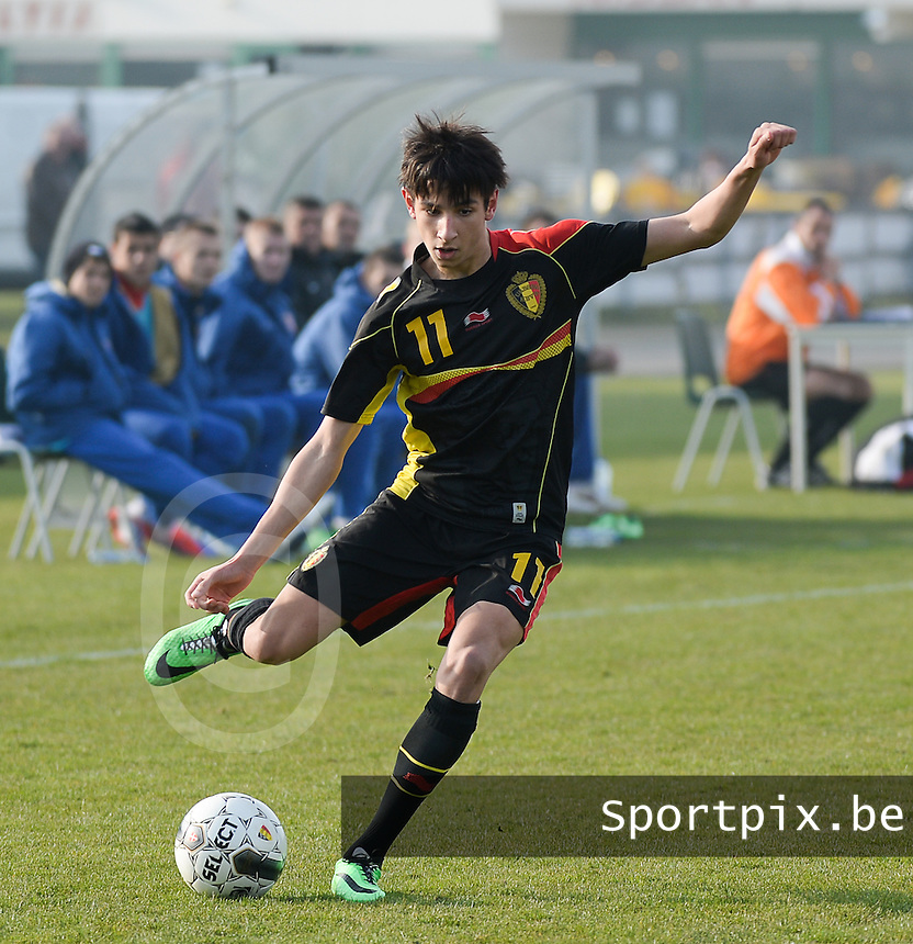 20140314 - HEIST , BELGIUM : Belgian Ismail Azzaoui pictured during a friendly soccer match between the Under16 soccerteams of Belgium and Serbia , Friday 14 March 2014 in Heist . PHOTO DAVID CATRY