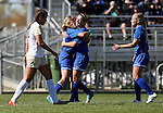 BROOKINGS, SD - OCTOBER 9:  Tori Poole #21 and Nicole Hatcher #10 from South Dakota State University celebrate a goal in front of Mariah Morgan #20 from Oral Roberts during their game Sunday afternoon at Fischback Park in Brookings. (Photo by Dave Eggen/Inertia)