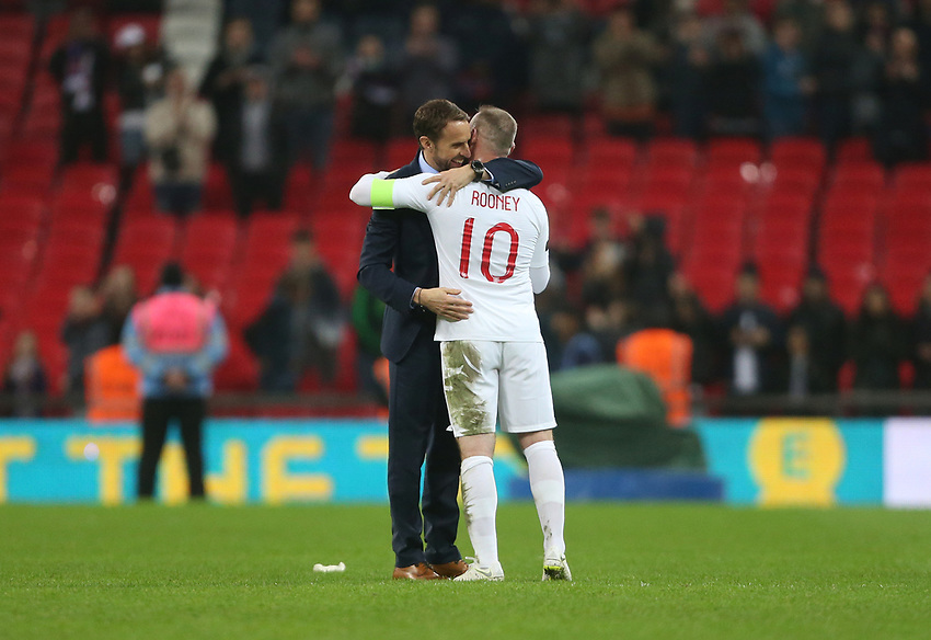England's Wayne Rooney with Manager Gareth Southgate at the end of the game<br /> <br /> Photographer Rob Newell/CameraSport<br /> <br /> The Wayne Rooney Foundation International - England v United States - Thursday 15th November 2018 - Wembley Stadium - London<br /> <br /> World Copyright © 2018 CameraSport. All rights reserved. 43 Linden Ave. Countesthorpe. Leicester. England. LE8 5PG - Tel: +44 (0) 116 277 4147 - admin@camerasport.com - www.camerasport.com