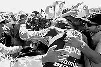 Valentino Rossi. festeggiamenti dopo la conquista del titolo mondiale nella 125cc a Brno. 1997.