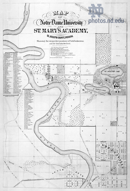PNDP 10-Aa-05X duplicates:  Map of Notre Dame and Saint Mary's College (SMC), c1865..Image from the University of Notre Dame Archives.